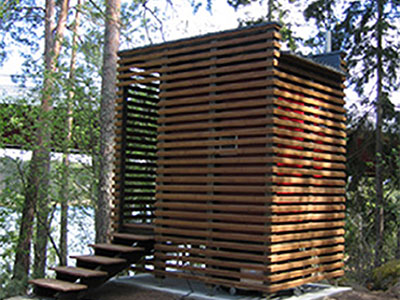 Outdoor composting toilet in the summer house of an architect – Ekolet VU model