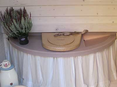 Outdoor composting toilet with decorative curtain – Ekolet VU model