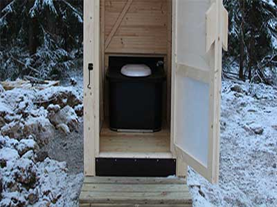 Outdoor composting toilet in public park in Finland – Ekolet Happy-Loo model