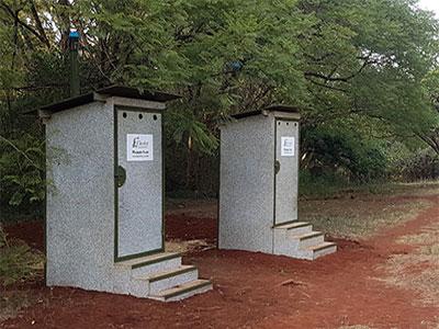 Outdoor composting toilet in public park in Kenya Finland – Ekolet Happy-Loo model